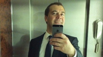 Medvedev makes a selfie