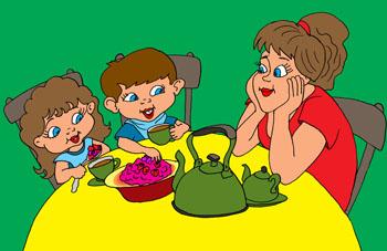 Карикатура про чай с малиной